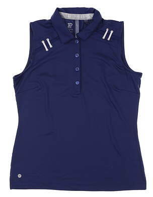 New Womens EP Pro Eyelet Lacing Sleeveless Polo Medium M Navy Blue 5439NDCX MSRP $68