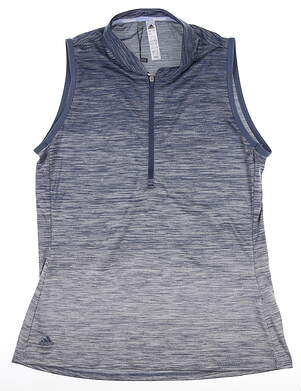 New Womens Adidas Novety Sleeveless Polo Small S Navy Blue DZ6305 MSRP $60