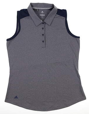 New Womens Adidas Ultimate Heather Sleeveless Polo Large Navy Blue DQ0530 MSRP $55