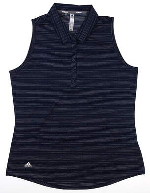 New Womens Adidas Novelty Sleeveless Polo Large L Navy Blue DQ0516 MSRP $55