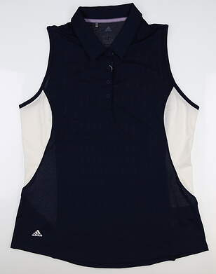 New Womens Adidas Ultimate Climacool Sleeveless Polo Large L Navy Blue DP5863 MSRP $60
