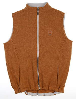 New W/ Logo Mens Peter Millar Fleece Vest Medium Brown Sugar MSRP $185 MF16EZ35