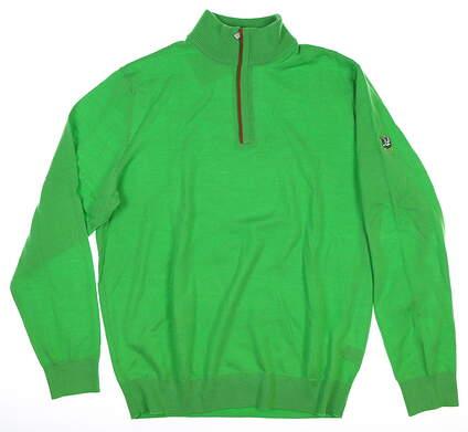 New W/ Logo Mens Ralph Lauren 1/4 Zip Sweater Medium M Barbados MSRP $200