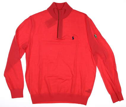 New W/ Logo Mens Ralph Lauren 1/4 Zip Sweater Medium M Coral Glow MSRP $200