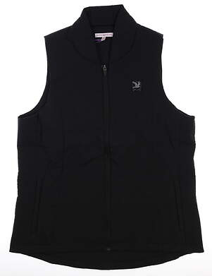New W/ Logo Womens Peter Millar Vest Large L Black MSRP $190 LF17EZ03