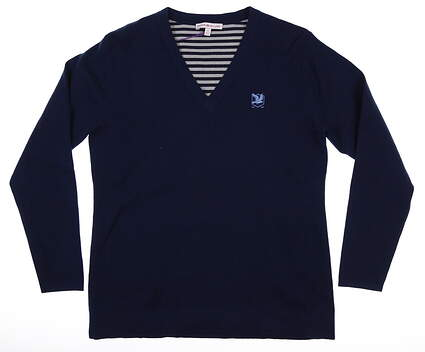 New W/ Logo Womens Peter Millar Sweater Medium M Navy Blue MSRP $175 LF17ES01