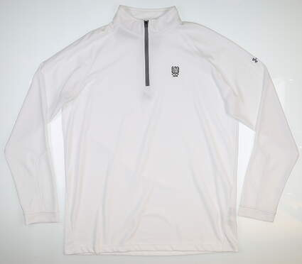 New W/ Logo Mens Under Armour 1/4 Zip Pullover X-Large XL White UM7184 MSRP $75