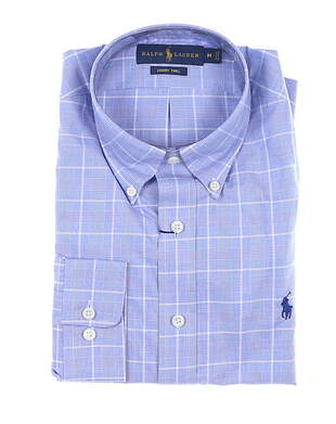 New W/ Logo Womens Ralph Lauren Button Up Medium M Blue MSRP $135