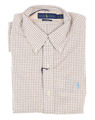New Mens Ralph Lauren Gingham Button Up Medium M Tan MSRP $130