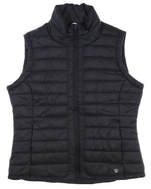 New W/ Logo Womens Straight Down Glacier Vest Large L Black MSRP $100 W10142