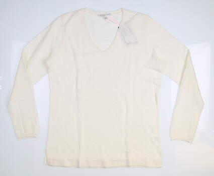 New Womens Fairway & Greene Emmie Sweater Large L White MSRP $190 K32270