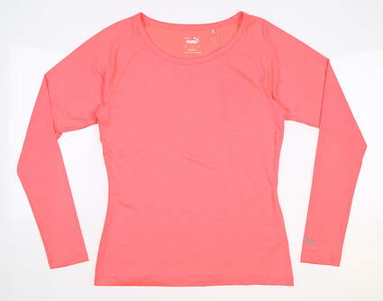 New Womens Puma Long Sleeve Crew Neck Small S Pink MSRP $60 577901