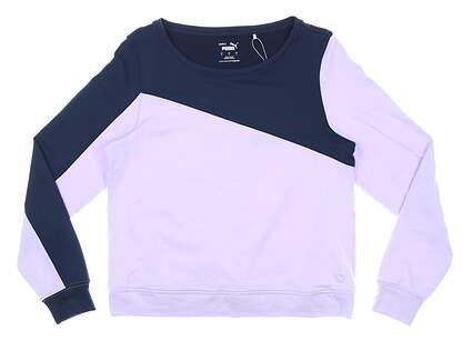 New Womens Puma Long Sleeve Crew Neck Small S Purple MSRP $70 597713