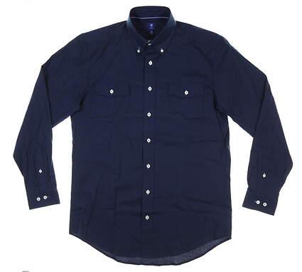 New Mens Footjoy 1857 Woven Button Down Medium M Navy Blue MSRP $165 26265
