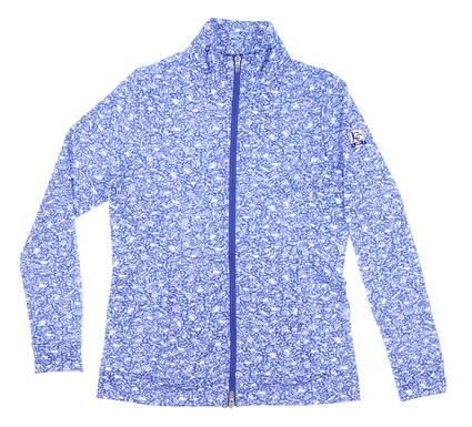 New W/ Logo Womens Peter Millar Full Zip Mock Neck Small S Blue MSRP $150 LF20EK17