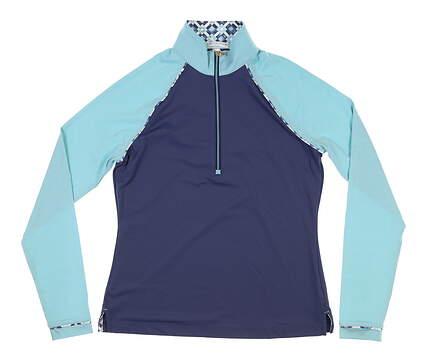 New Womens Fairway & Greene 1/2 Zip Golf Pullover Large L Blue MSRP $110