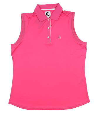 New W/ Logo Womens Footjoy Sleeveless Polo Large L Pink MSRP $80 27074