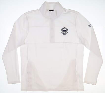 New W/ Logo Mens Under Armour Notre Dame 1/4 Snap Pullover Large White MSRP $65