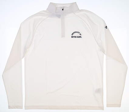 New W/ Logo Mens Under Armour Notre Dame 1/4 Zip Pullover Large L White MSRP $65