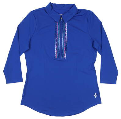 New Womens Jo Fit Embroidered 3/4 Sleeve Polo Small S Blue MSRP $90 GT211-NTB