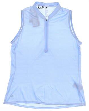 New Womens Adidas Sleeveless Golf Polo Medium M Blue MSRP $68 FJ3354