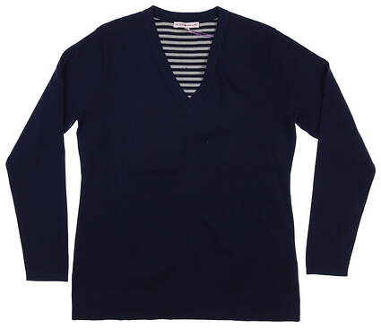 New Womens Peter Millar Sweater Small S Navy Blue MSRP $165 LF17ES01