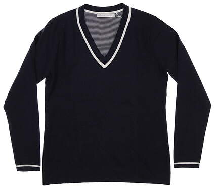 New Womens Peter Millar Tipped V-Neck Sweater Small S Navy Blue MSRP $160