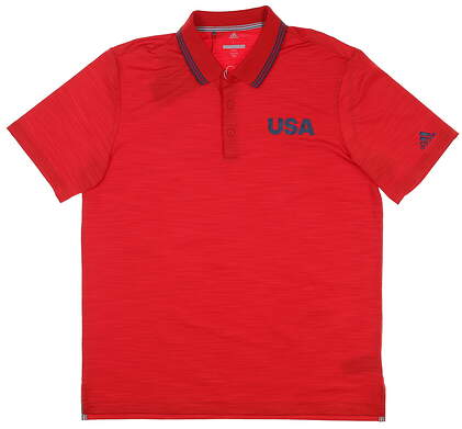 New Mens Adidas Ult 364 USA Golf Polo Large L Red MSRP $75 DN4221