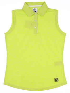 New W/ Logo Womens Footjoy Sleeveless Interlock Polo Small S Lime MSRP $70 27399