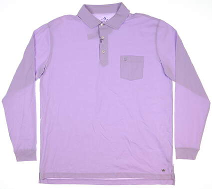 New W/ Logo Mens Peter Millar Long Sleeve Golf Polo Large L Purple MSRP $95
