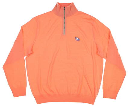 New W/ Logo Mens Ralph Lauren 1/4 Zip Sweater Large L Orange MSRP $185