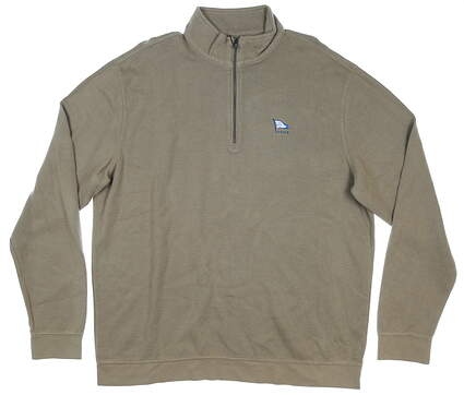 New W/ Logo Mens Greg Norman 1/4 Zip Sweater Large L Brown MSRP $69