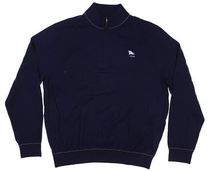 New W/ Logo Mens Fairway & Greene McCallan Blend 1/4 Zip Sweater Medium M Navy Blue MSRP $200 H31290