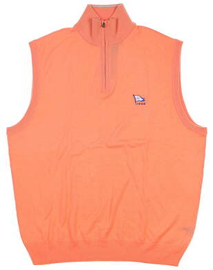 New W/ Logo Mens Ralph Lauren Sweater Vest Large L Orange MSRP $145