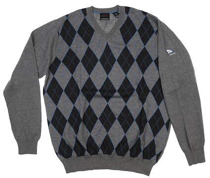New W/ Logo Mens Greg Norman V-Neck Sweater Medium M Gray MSRP $89 G7F4S131