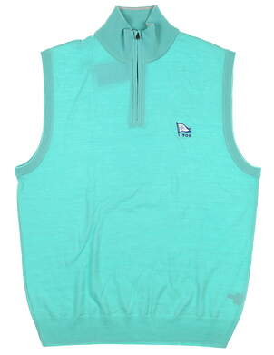 New W/ Logo Mens Ralph Lauren 1/4 Zip Sweater Vest Medium M Teal MSRP $145