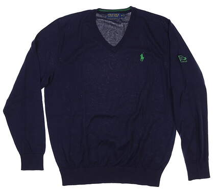 New W/ Logo Mens Ralph Lauren V-Neck Sweater Medium M Navy Blue MSRP $106