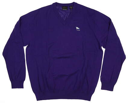 New W/ Logo Mens Greg Norman V-Neck Sweater Large L Purple MSRP $69