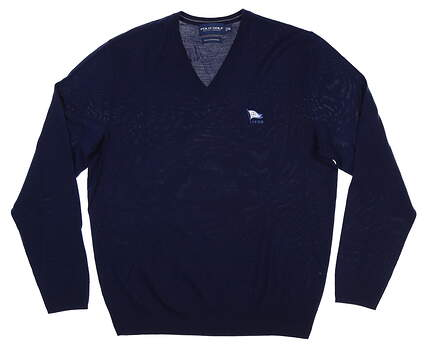 New W/ Logo Mens Ralph Lauren V-Neck Sweater Medium M Navy Blue MSRP $145