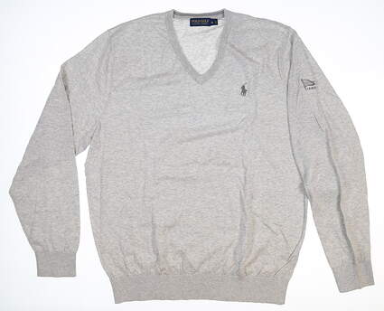 New W/ Logo Mens Ralph Lauren V-Neck Sweater Medium M Gray MSRP $106