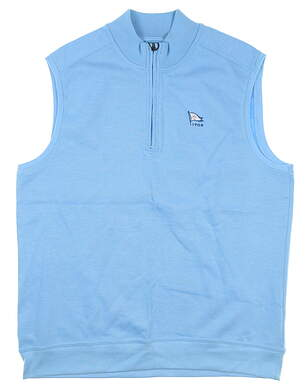 New W/ Logo Mens Greg Norman 1/4 Zip Sweater Vest Medium Blue MSRP $80 G7F5V017