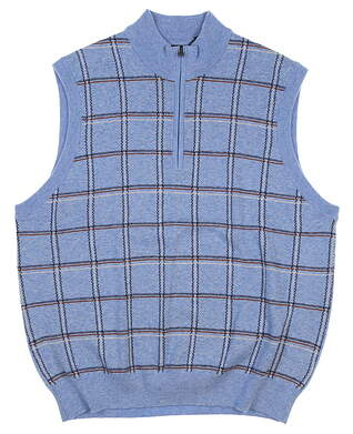 New Mens Greg Norman 1/4 Zip Sweater Vest Medium M Blue MSRP $95 G7F5V41