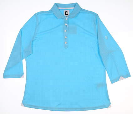 New W/ Logo Womens Footjoy Interlock 3/4 Sleeve Polo X-Large XL Blue MSRP $90 27586