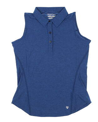 New Womens Straight Down Golf Sleeveless Polo Small S Blue MSRP $75 W14245