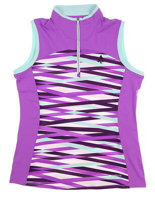 New W/ Logo Womens Cutter & Buck Annika Sleeveless Polo Small S Multi MSRP $80 LAK00116