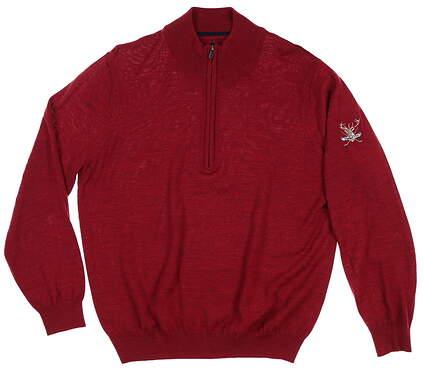New W/ Logo Mens Footjoy 1/2 Zip Merino Sweater Medium Cranberry MSRP $160 23698