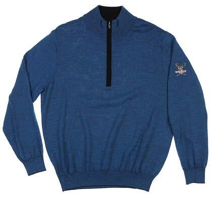 New W/ Logo Mens Footjoy 1/2 Zip Merino Sweater Medium M Blue MSRP $140 23632