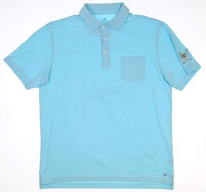 New W/ Logo Mens Peter Millar Golf Polo X-Large XL Blue MSRP $85 MS18K70P