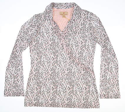 New Womens Sport Haley Long Sleeve Polo Small S Multi MSRP $90 H18212TM