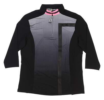 New Womens Jamie Sadock 3/4 Sleeve Polo Small S Black MSRP $100 82140